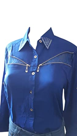 febd1712 Leyvas Sapphire Blue Silver Zipper Accented Button Down Long Sleeve Blouse  (Medium)