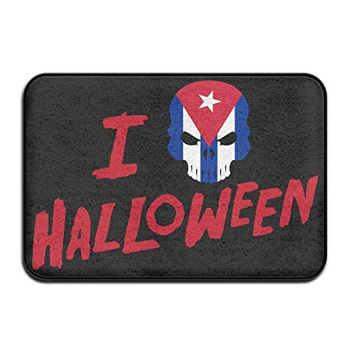 CUKENG Indoor/Outdoor Natural Easy Clean Doormat 23.6x15.7 inches/40x60cm Inside & Outside Area Rug Floor Mat I Love Halloween Skull Cuba Flag Design Pattern for Front Porch