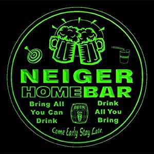 4x ccq32222-g NEIGER Family Name Home Bar Pub Beer Club Gift 3D Engraved Coasters