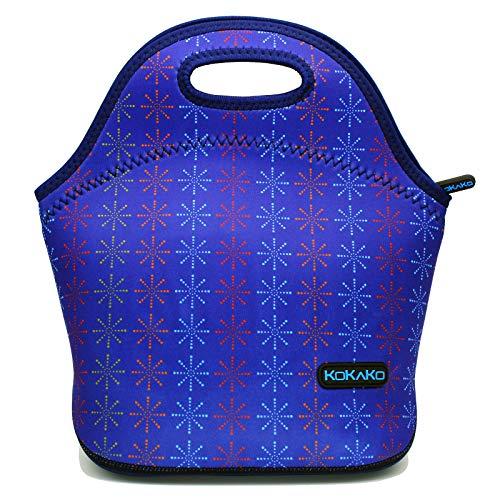 Lunch Bag Neoprene Lunch Box by KOKAKO Tote Washable Insulated Waterproof for Men Women Kids(Blue)