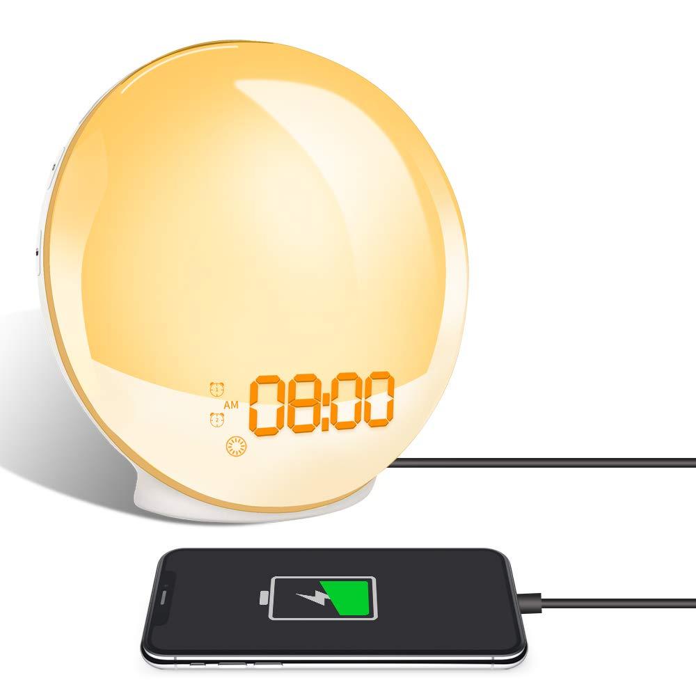 TITIROBA Wake-Up Light, Sunrise Simulation Alarm Clock, Sleep Aid Colored Bedside Light with FM Radio Dual Alarm Adjustable Lightness for Kids and Adults Bedroom ... by TITIROBA (Image #1)