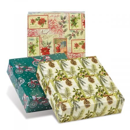 Natural Collection 3 Jumbo Rolls Christmas Wrapping Paper Set - 72 sq. ft per roll
