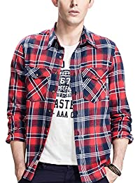 Men's Long Sleeve Button Down Flannel Checkered Shirt Plus Size