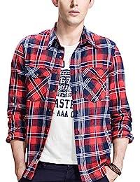 "<span class=""a-offscreen"">[Sponsored]</span>Men's Long Sleeve Button Down Flannel Checkered Shirt Plus Size"