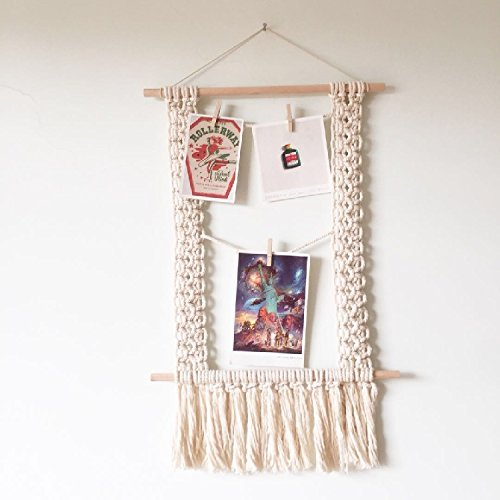 RISEON Handmade BOHO Rustic Wood Hanging Photo Display Shelf Macrame Wall Hanging Pictures Organizer Hanger Home Decor, With 10 Wood Clips