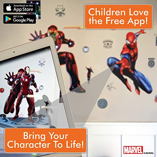 Marvel Spider-Man & Iron Man Bundle Augmented Reality Stickers for Kids Rooms - Kids Wall Decals for Bedroom are Easy to Put Up On Wall & Peel Off - Best Bedroom Décor by Marvel (Image #2)