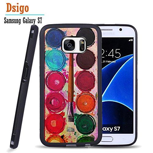 Galaxy S7 Case, Samsung S7 Black Case, Dsigo TPU Black Full Cover Protective Case for New Samsung Galaxy S7 - Watercolor palette