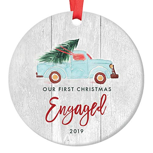 Engagement 2019 Christmas Ornament 1st Christmas Engaged Couple Future Newlywed Gift Idea Rustic Country Farmhouse Ceramic Holiday Keepsake 3