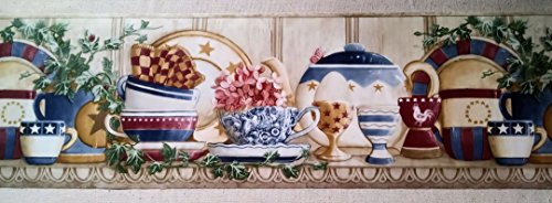 Country Shelf - Cups, Plates, Teapots, Ivy Wallpaper Border - CP033124B ()