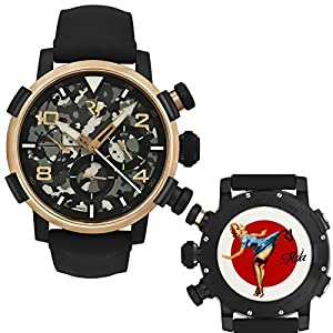 Romain Jerome Pinup DNA Gold WWII Mila Blue Chronograph Auto RJ.P.CH.003.01