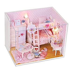 BEAUTY'S CASTLE DIY Pink Girl Wooden Dollhouse LED Lights Miniature Assembly Furniture Kit 3D Puzzle Crafts Toy And Wooden Frame For Creative Kid Birthday Gifts