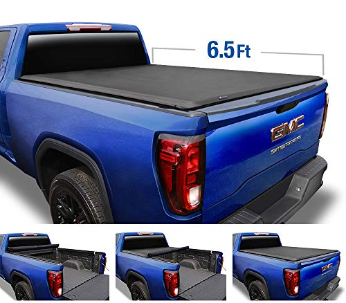 Tyger Auto T1 Soft Roll Up Truck Bed Tonneau Cover for 2014-2019 Chevy Silverado / GMC Sierra 1500; 2015-2018 Silverado / Sierra 2500 HD 3500 HD | Fleetside 6.5 Bed without Utility Track | TG-BC1C9007