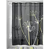 InterDesign Thistle Fabric Shower Curtain, 54x78-Inch, Gray and Yellow