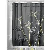 InterDesign Thistle Fabric Shower Curtain, 54 x 78 Inch, Gray/Yellow