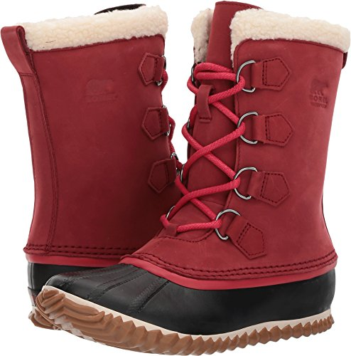 SOREL Womens Caribou Slim Snow Boot, Red Element, 9 B(M) US by SOREL