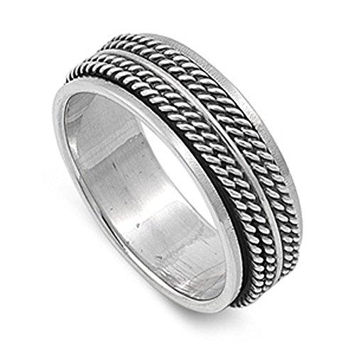 925 Sterling Silver Spinner Ring - 3