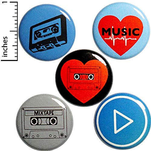 Cassette Tapes 5 Pack Buttons Pins 1 Inch P12-5