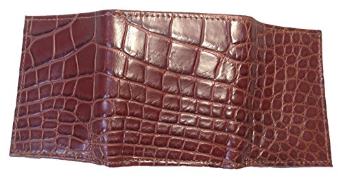 Semi gloss Cognac Trifold Wallet Genuine Men's Sultan Alligator Safari 7Zx8qw0