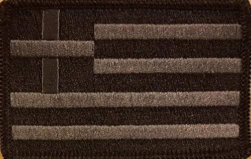 Greece Flag Patch Embroidered with Hook & Loop Morale Tactical Shoulder Emblem Black & Charcoal Version Black Border