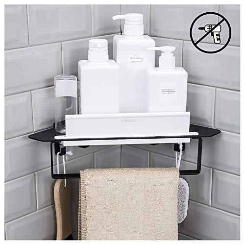 Forious Bathroom Shower Caddy and Kitchen Shelf Combine with Squeegee, Towel Ring - With Corner Shelf Mirrors Bathroom