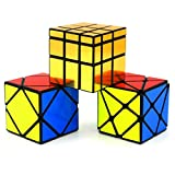 Heddi Magic Speed Cube Puzzle Transformers Skewb Mirror Cube - Glod 3*3*3 Brain Teaser Puzzle Cube Bundle Box Pack