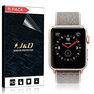 [8-Pack] Apple Watch 42mm Series 3, Series 2, Series 1 Screen Protector (Not Glass), J&D Soft Skin [Full Coverage] [Bubble Free] HD Clear Screen Protector for Apple Watch 42mm Series 3 / 2 / 1