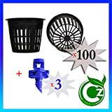 Cz Garden Supply 100 Pack - 3 inch Round Heavy Duty Net Cups Pots Wide Lip Design - Orchids • Aquaponics • Aquaculture • Hydroponics • Wide Mouth Mason Jars • Slotted Mesh + Free Micro Sprayers