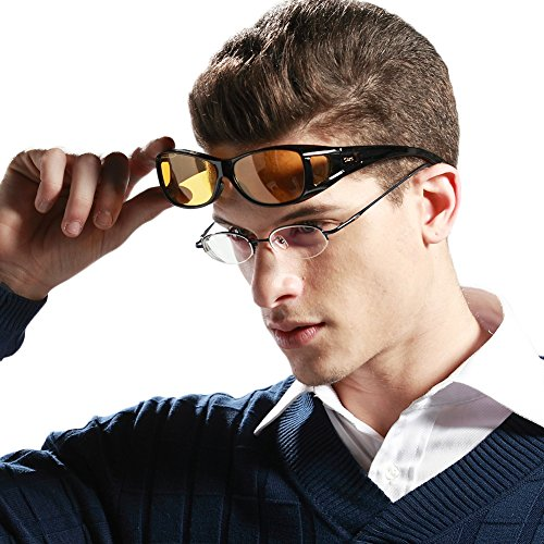 Duco Myopia Night Vision Glasses Wraparound HD Prescription Glasses Night Driving Polarized 8953Y Common Size - Riding Glasses Prescription