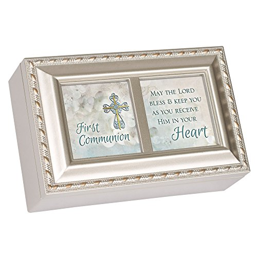 Cottage Garden First Communion Lord Bless Keep You Brushed Silvertone Jewelry Music Box Plays Amazing Grace