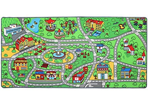 Click N' Play City Life Kids Road Traffic Play mat Rug Extra Large Non-Slip Carpet Fun Educational for Play Area Playroom Bedroom-Extra Large 79