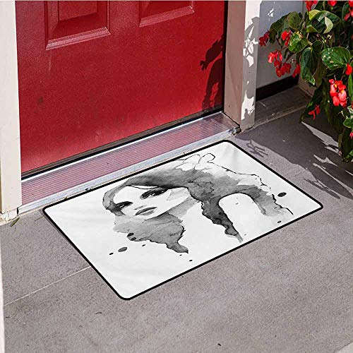 Teen Girls Welcome Door mat Portrait of Girl in Watercolor Painting Effect Femininity Theme Creative Modern Door mat is odorless and Durable W29.5 x L39.4 Inch Black White