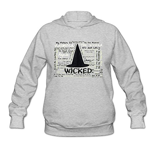 [AK79 Women's Hooded Sweatshirt Wicked Musical Size S Ash] (Wicked Witch Of The West Costume Disney)