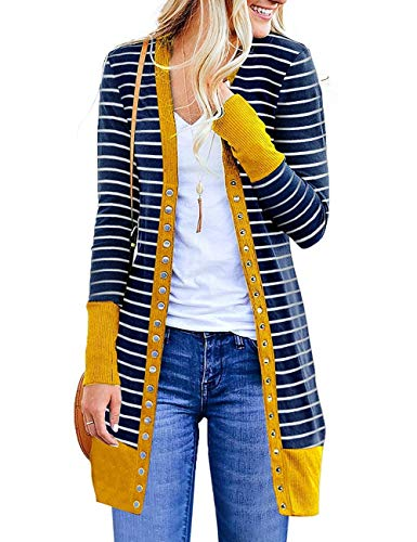 Faatoop Women's V-Neck Button Down Snap Knitwear Long Sleeve Striped Soft Basic Knit Long Cardigan Sweaters with Pockets (Mustard, M)