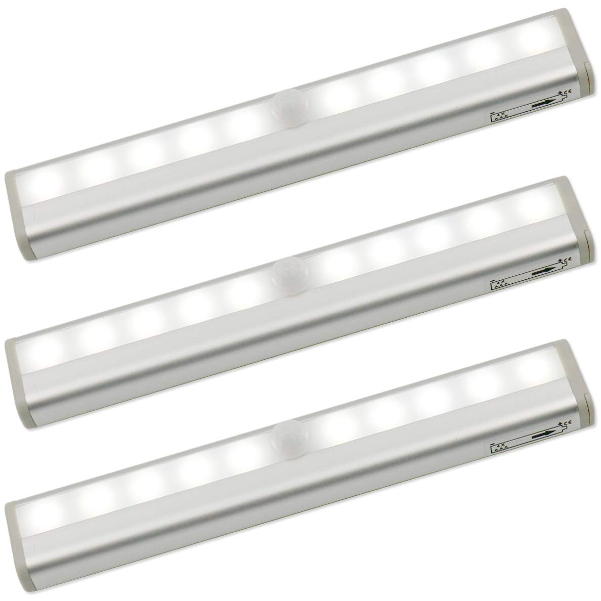 Lhomeled Motion Sensor Light,Portable Magnetic Security Closet Light,10 LED Bulbs Battery Operated Wireless Motion Nightlight,Stick on Anywhere Night Light Bar for Hallway Stairway Wardrobe,3 Pack.