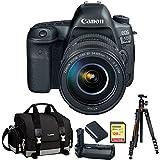 Canon EOS 5D Mark IV Full Frame DSLR Camera + EF 24-105mm f/4L IS II USM Lens Bundle with Gadget Bag, Battery Grip, Battery Pack, Sandisk 128GB Extreme SD Memory UHS-I Card, and Aluminum Travel Tripod