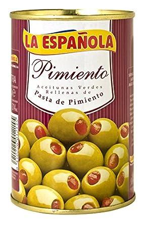 La Española - Aceitunas Verdes Rellenas De Pasta De Pimiento: Amazon.es: Alimentación y bebidas