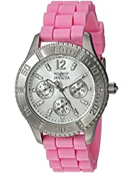 Invicta Womens Angel Quartz Stainless Steel and Silicone Casual Watch, Color:Pink (Model: 22487)