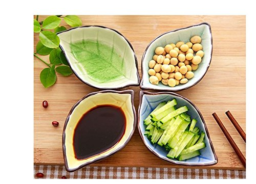 leoyoubei 2 oz ice crack glaze Ceramic pickles /Porcelain Dipping Bowls/ caviar / dessert / appetizer and other spices leaves style tableware 4.4x2.75''-4 pack (Light green) by leoyoubei (Image #6)