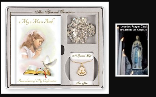 Confirmation Gift Set - Girls Confirmation Souvenir Gift Set with Lourdes Prayer Card