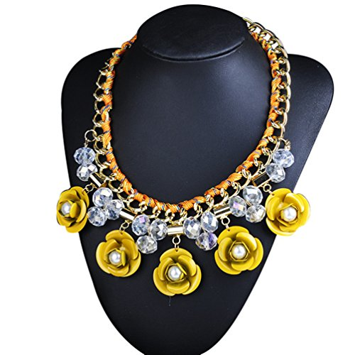[Sweetime Women's Fashion Yellow Crystal Metal Bead Flowers Sennit Alloy Necklace (Yellow)] (Makers Mark Costume)