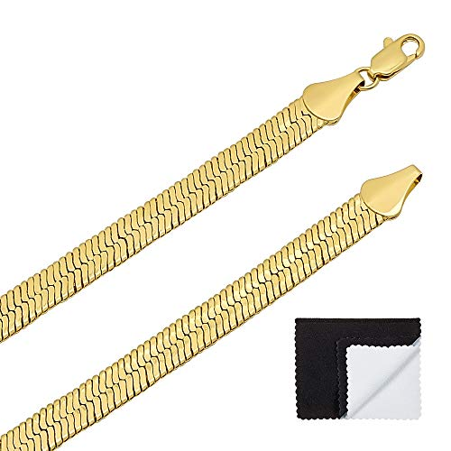 The Bling Factory Men's 7mm 14k Gold Plated Herringbone Chain Necklace, 24
