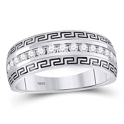 14kt White Gold Mens Round Diamond Greek Key Single Row Wedding Band Ring 1/2 ()