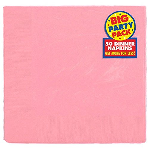 Amscan 2-Ply New Pink Dinner Napkins, 50 Ct. | Party Tableware (Pink Paper Dinner Napkins)