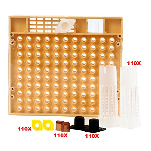 Yaekoo Queen Rearing Cup kit Bee Keeper Tools Apiculture Box Set 110x Hair Roller Cage + 110 Cell Cups Beekeeping Set