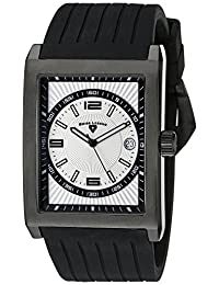 Swiss Legend Men's 40012-BB-02S Limousine Light Silver Textured Dial Black Silicone Watch