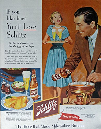 Schlitz Beer, 50's Print ad. Full Page Color Illustration (woman with tray of beer) Original Vintage 1953 Collier's Magazine Print Art (Schlitz Beer Tray)