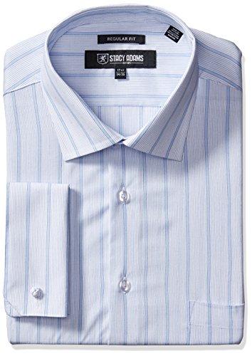 """Stacy Adams Men's Stripe Y.d. Dress Shirt, Blue, 17.5"""" Ne..."""
