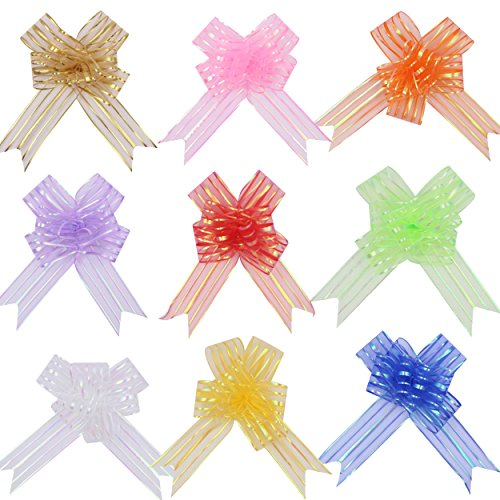 Zicome 9-Pieces Organza Gift Wrap Ribbon Pull Bows for Christmas Gifts, Baskets, Wine Bottles Decoration, Gift Wrapping and Decoration Present