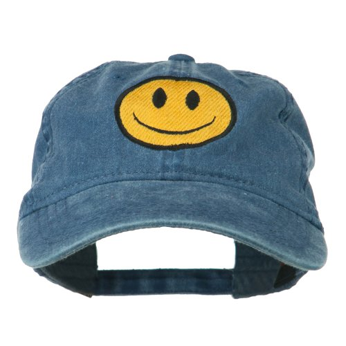 Cap Face Happy (E4hats Smiley Face Embroidered Washed Cap - Navy OSFM)