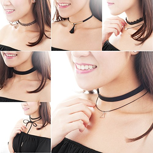 Price comparison product image Zodaca 6 Pieces Different Style Fashion Charm Choker Necklace Velvet Classic Vintage Lace Tatto Gothic Set for Girl & Women